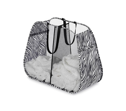 College Laundry Essential - Zebra Pop and Fold Double Hamper - Useful Dorm Organizer