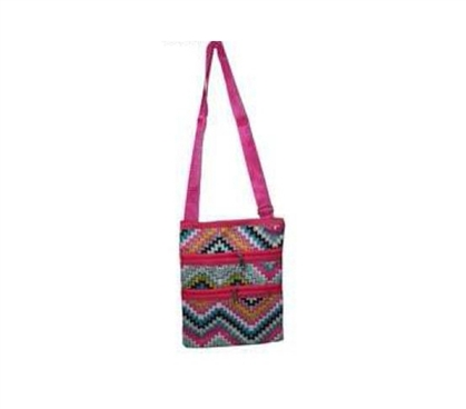 Pink ZigZag 3 Zipper Passport Bag