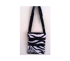 Enhanced Zebra Print 3 Zipper Passport Bag