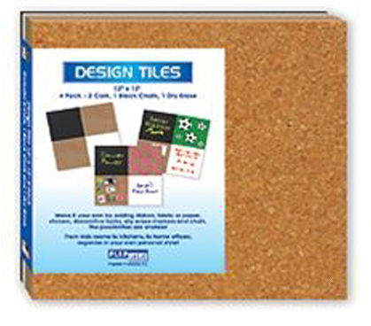 "12"" x 12"" Assorted Cork, Chalk & Dry Erase Tile Set (Includes 4) - Great For Dorm Wall Decorating Ideas"