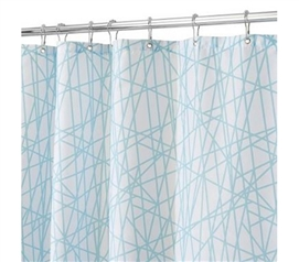 Aqua White Abstract Shower Curtain Dorm Necessities Must Have Dorm Items