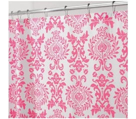 Damask Hot Pink College Shower Curtain Dorm Necessities