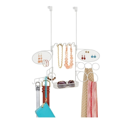 Over The Door Earring and Accessory Organizer with Shelf - White Dorm Organization Must Have Dorm Items