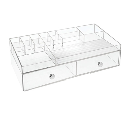 2 Drawer Clear Cosmetic Organizer