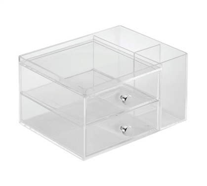 Clear Cosmetic Organizer with 2 Side Drawers