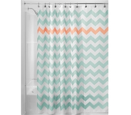 Chevron Fabric Shower Curtain - Aruba/Coral Dorm Essentials Dorm Shower Curtain