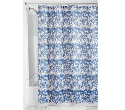 Change Out Old Curtains - Floral Batik Fabric Shower Curtain - Blue - Great Design