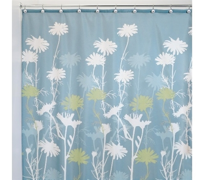 Dorm Room Decor Daizy Dorm Shower Curtain - Blue/Sage College Supplies