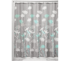 Daizy Shower Curtain - Gray/Mint Dorm Shower Curtains Dorm Room Decor
