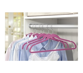 Organize Your Closet - Soft Grip Shirt Hangers - Set of 6 (Fuschia) - An Essential Dorm Item