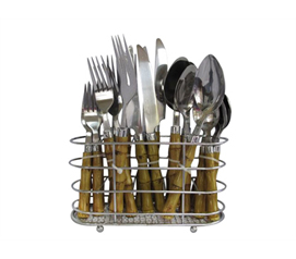Needed For Meals - Bamboo 22 PC Flatware Set with Caddy - Cool Dorm Item