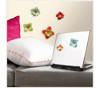 Exciting 3D Flowers - Peel N Stick Dorm Decor - Dorm Room Decorations