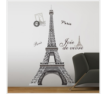 Cheap Way To Visit Paris - Eiffel Tower - Peel N Stick Dorm Decor
