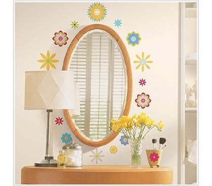 graphic flowers peel n stick dorm decor. Black Bedroom Furniture Sets. Home Design Ideas