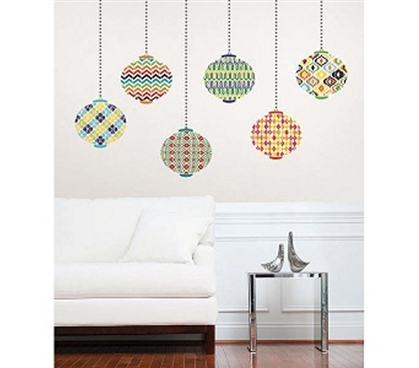 lanterns on wall peel n stick wall decor for college. Black Bedroom Furniture Sets. Home Design Ideas
