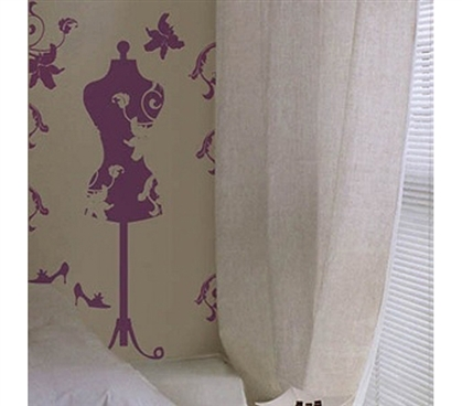 Purple Wall Mannequin - Peel N Stick Decor - Unique Dorm Wall Decor