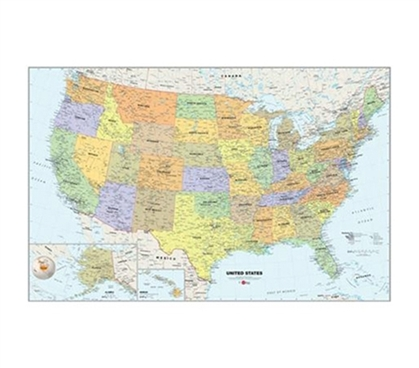 Wall Reusable US Map - Peel N Stick Dorm Decor