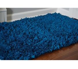 Jersey Knit Cotton Dorm Rug - Ocean Blue Dorm Essentials