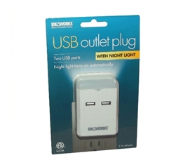 USB Outlet Plug With Night Light