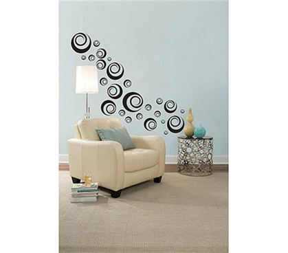 Essential College Supplies - Black Ringlets - Peel N Stick Dorm Decor