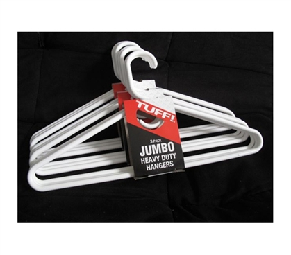Jumbo Thick White Hangers 9 Pack - Needed For Every College Closet