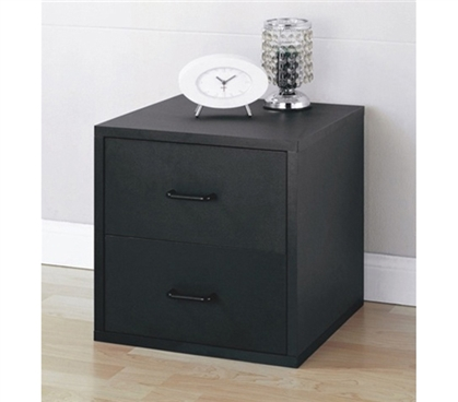 Bedside 2 drawer black nightstand college dorm room for Space saving nightstand