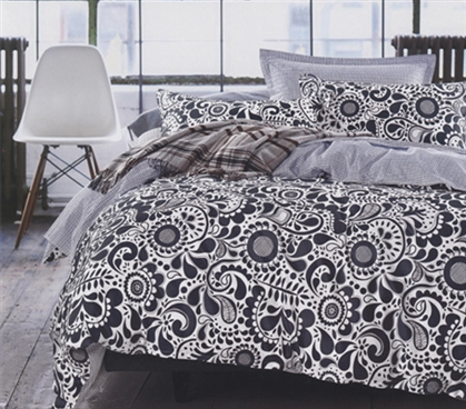 Paisley Black and White Extra Long College Comforter Set College Soft Dorm Room Bedding
