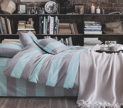 Blue and Gray Stripes Twin XL Comforter Set Twin XL Bedding Extra Long Twin Comforter Dorm Room Decor