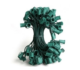 Christmas Light Socket Cord - 25 Ft. C7 Bulb Size - Green Wire