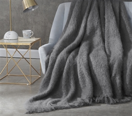 Nama Karoo - Hand Brushed Kid Mohair - Throw Blanket - Goodnight Grey