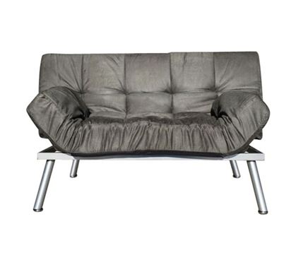 The College Cozy Sofa Mini-Futon Gray - Fun Dorm Furniture