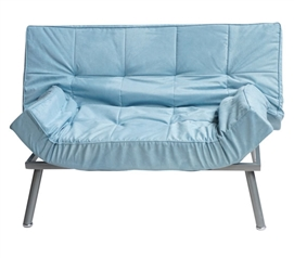 The College Cozy Sofa (Mini-Futon) - Silver Blue - Dorm Seating - Additional Comfort