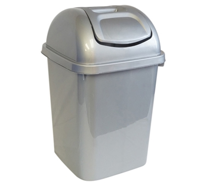 Swing Lid Trash Can - Silver Dorm Necessities College Supplies