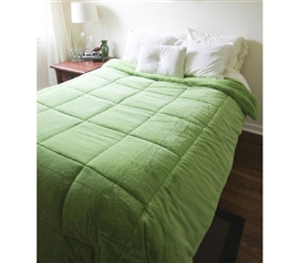 College Plush Comforter - Avocado Green - Twin XL Dorm Room Bedding