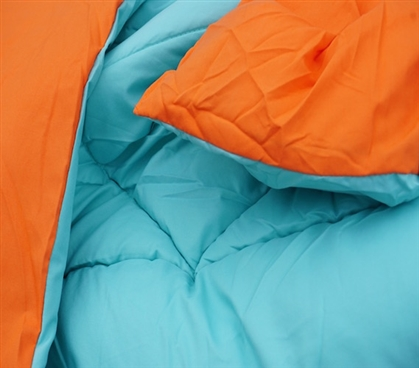 Comfy And Soft - Caribbean Ocean/Orange Reversible College Comforter - Twin XL - Two Cool Colors