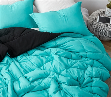 Aqua/Black Reversible College Comforter - Twin XL- Gives You Color Options