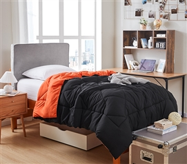 Orange/Black Reversible College Comforter - Twin XL - Cool Colorway!