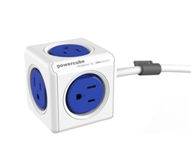 Power Cube Outlet Multiplier With Surge Protection & 5 Outlets - Cobalt Blue Must Have Dorm Room Gadgets