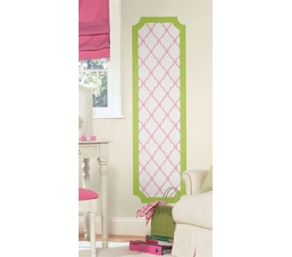 Peel N Stick - Pink And Lime Trellis Panel Decal