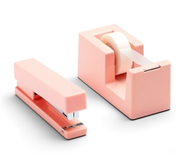 Stapler and Tape Dispenser Combo - Blush