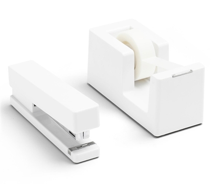 Stapler and Tape Dispenser Combo - White Dorm Essentials Study Accessories Dorm Accessories