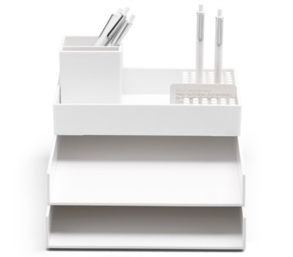 Super Stacked Dorm Desk Bundle - White Dorm Essentials College Supplies