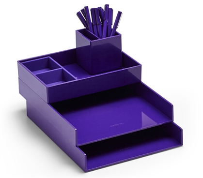 Ultra Stacked Dorm Desk Bundle - Purple Dorm Essentials Dorm Room Decorations