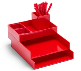Ultra Stacked Dorm Desk Bundle - Red Dorm Organizers Dorm Room Decor