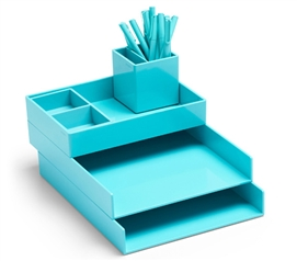 Ultra Stacked Dorm Desk Bundle - Aqua Dorm Essentials Dorm Room Decor