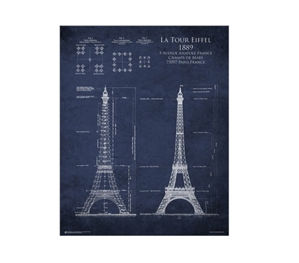 Eiffel Tower Blueprint Poster - A look inside the construction of the Eiffel Tower for your dorm wall!