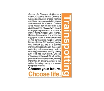 Trainspotting - Quotes Dorm Poster Dorm Room Decorations Dorm Room Decor