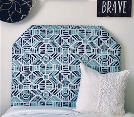 Stylish Dorm Room Headboard Blue Ribble Pattern Unique Twin XL College Bedding Decor