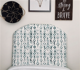 Unique Tribal College Decor Twin XL Dorm Room Headboard with Stylish Blue Pattern
