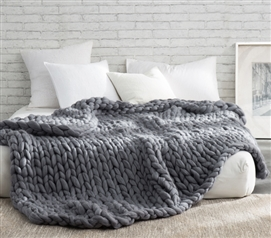 Pure Australian Woolen Blanket - Chunky Knit Oversized Bedding (Alloy)